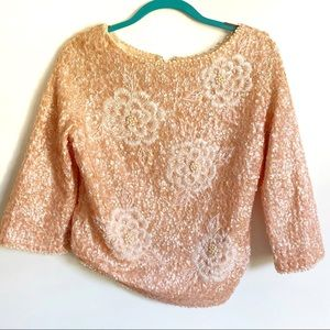 "Cardell Vintage 1960""s Beaded Scoop Neck Top"